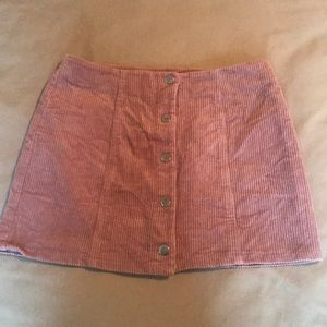 Dusty Pink Corduroy Button Up Skirt